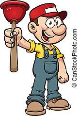 Cartoon plumber holding a plunger. Vector clip art...