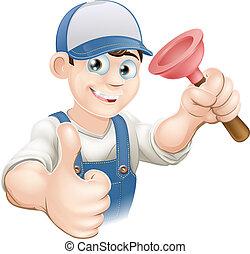 Cartoon plunger man