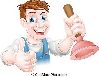 Cartoon plunger man - Cartoon handyman or plumber holding a...