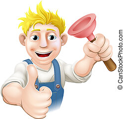 Cartoon plunger plumber - An illustration of a cartoon...