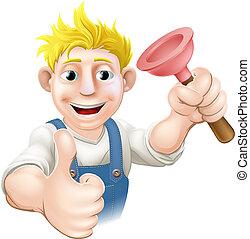Cartoon plunger plumber - An illustration of a cartoon...