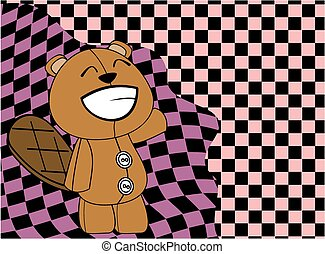 cartoon plush baby beaver backgroun