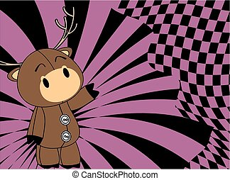 cartoon plush baby deer background