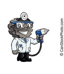 cartoon., pneu, docteur