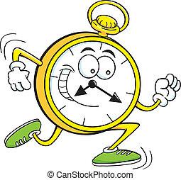 Cartoon illustration of a pocket watch running.