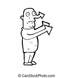 cartoon pointing arrow man