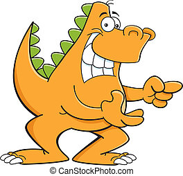 Cartoon pointing dinosaur