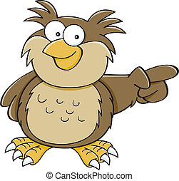 Cartoon pointing owl