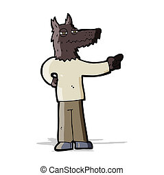 cartoon pointing wolf man
