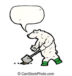 cartoon polar bear digging hole