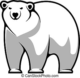 Large grey and white cartoon polar bear isolated on white for mascot or tattoo design