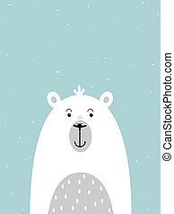 cartoon polar bear on winter background