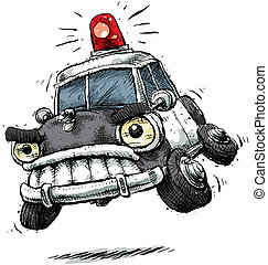 A cartoon police car rushes to the scene.