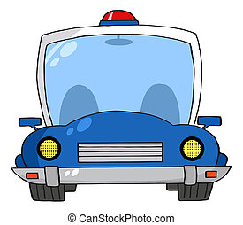 Frontal View Of A Blue Police Car With A Light On The Roof