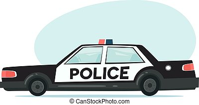 Cartoon police car icon. Isolated objects on white background in flat cartoon style. Vector illustration.