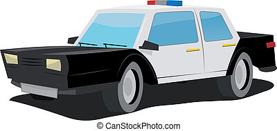 Cartoon Police Car - Illustration of a simple cartoon black...