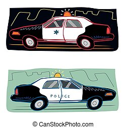 Cartoon police car - Two variations of a police car giving...