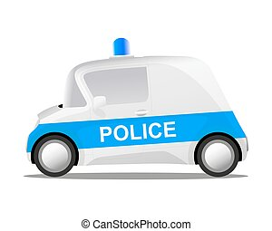 cartoon police car, vector illustration