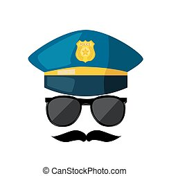 Cartoon police hat, sunglas  and gold badge vector