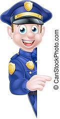 Cartoon Police Man Sign