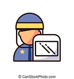 cartoon police with shield icon, fill style and colorful design