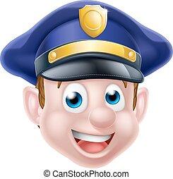Cartoon Policeman Face