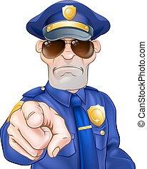Cartoon Policeman - Serious cartoon police officer policeman...