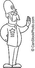 cartoon policeman making stop gesture