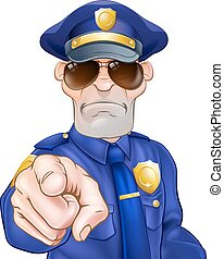 Cartoon Policeman - Serious cartoon police officer policeman...