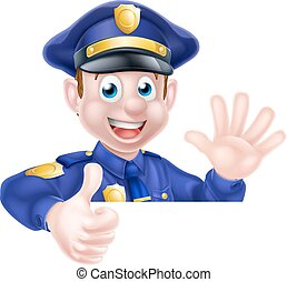 Cartoon Policeman Thumbs Up