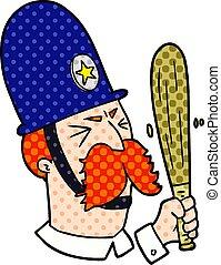 cartoon policeman waving baton