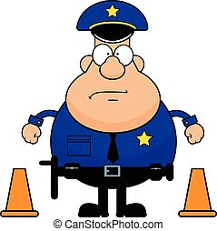Cartoon Policeman With Traffic Cone