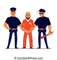 Cartoon policemen holding handcuffed criminal in orange ...