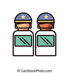 cartoon polices with shields icon, fill style and colorful design