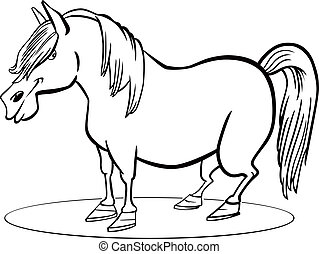 coloring page illustration of funny farm pony horse