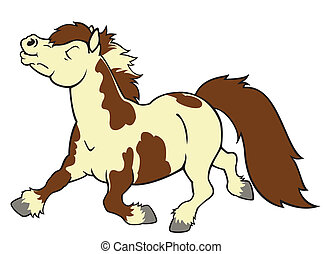 running little horse shetland pony breed, cartoon image isolated on white background