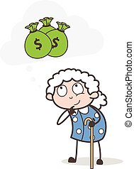 Cartoon Poor Old Woman Thinking about Money Vector Illustration