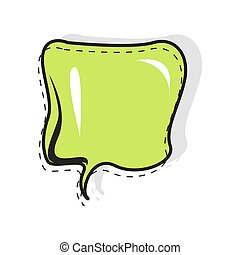Cartoon pop art speech balloon green color for cartoon