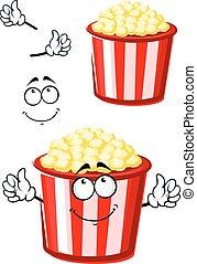 Cartoon popcorn character in striped bucket