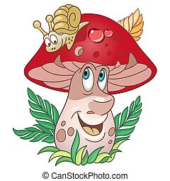Cartoon forest Mushroom and Snail. Porcini or Brown Cap boletus.