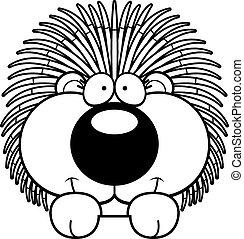Cartoon Porcupine Peeking - A cartoon illustration of a...