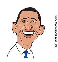 Cartoon portrait of Barack Obama