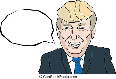 Donald Trump with a smile look on his face that thinks