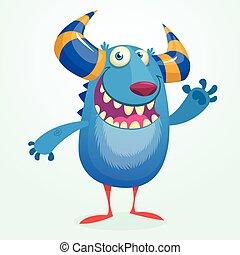 Cartoon portrait of smiling blue monster dragon. Vector illustration of blue horned monster isolated waving. Halloween design