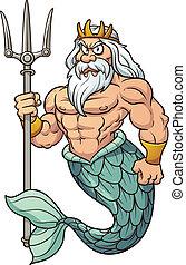 Cartoon Poseidon. Vector clip art illustration with simple...