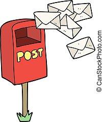 cartoon post box - freehand drawn cartoon post box