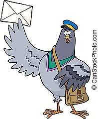 Cartoon post pigeon on a white background vector...
