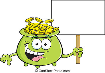 Cartoon pot of gold holding a sign - Cartoon illustration of...