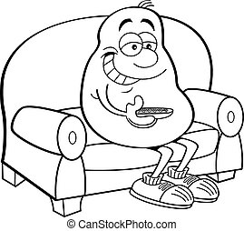 Cartoon potato sitting on a couch.
