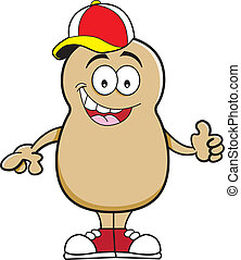 Cartoon potato wearing a baseball c - Cartoon illustration...